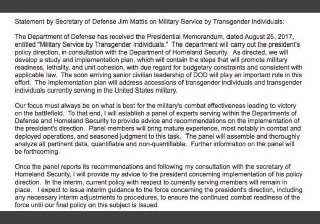 Mattis - Transgender